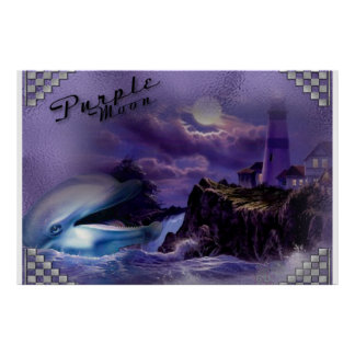 fabric Purple Moon dolphin Print
