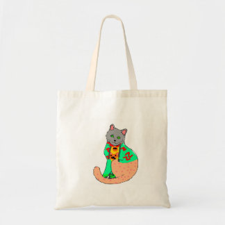 Fabric purse with the cat drawing