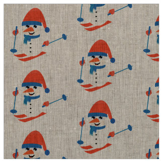 fabric rustic snowman skiing blue