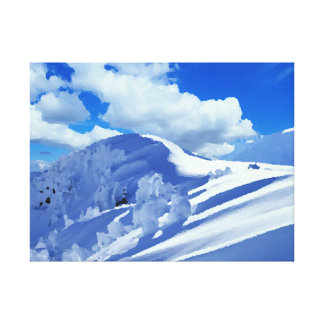 Fabric top of mountains under snow gallery wrapped canvas