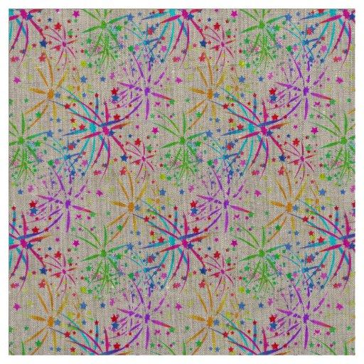 fabric Trendy  rainbow fireworks stars purple