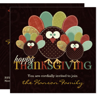 Fabric Turkey Family Thanksgiving Gathering Card