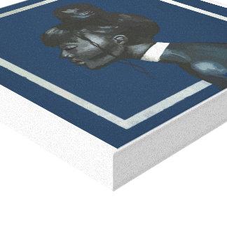 fabric woman of blue profile canvas print