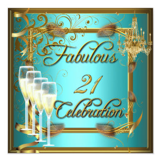 """Fabulous 21 Celebration Gold Teal Birthday Party 5.25"""" Square Invitation Card"""