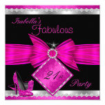Fabulous 21 Hot Pink Black Silver Birthday Party 13 Cm X 13 Cm Square Invitation Card