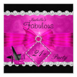 Fabulous 21 Hot Pink Black Silver Birthday Party 2 13 Cm X 13 Cm Square Invitation Card