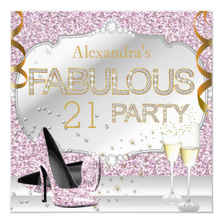 Fabulous 21 Pink Glitter Glamour Birthday Party Card