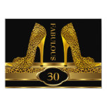 Fabulous 30 Leopard Gold Cheetah High Heels Party 11 Cm X 16 Cm Invitation Card