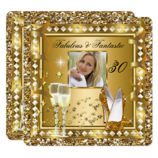 Fabulous 30 Photo Gold Glam Hollywood Birthday Card