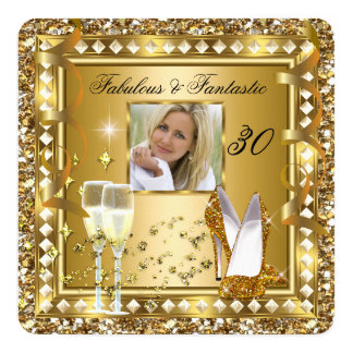 Fabulous 30 Photo Gold Glam Hollywood Birthday Card