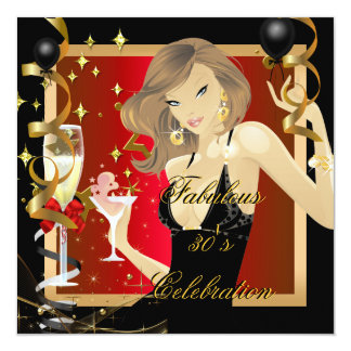 Fabulous 30 Red Gold Black Birthday Party Card