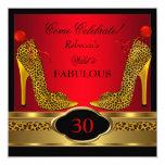 Fabulous 30 Wild Leopard Red Cheetah High Heels 13 Cm X 13 Cm Square Invitation Card