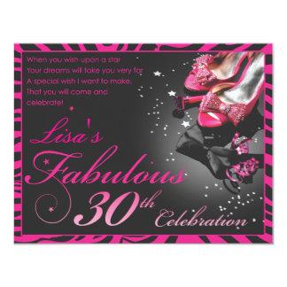"Fabulous 30th! 4.25"" x 5.5"" invitation card"