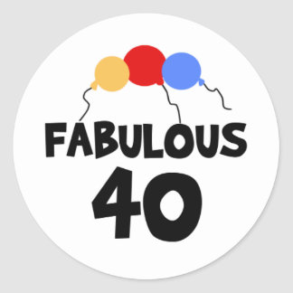 Fabulous 40 40th Forty Birthday Classic Round Sticker