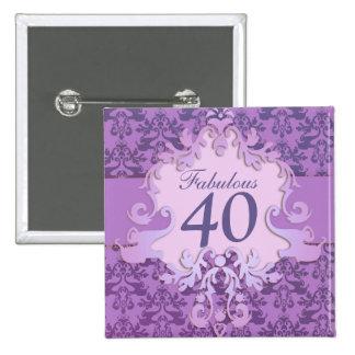 """Fabulous 40"" age damask elephant button/badge 15 Cm Square Badge"