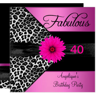 Fabulous 40 Birthday Party Hot Pink Leopard Card