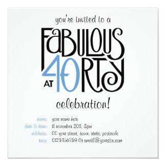 Fabulous 40 black blue Birthday Invitation