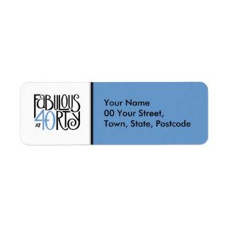 Fabulous 40 black blue Return Address Label