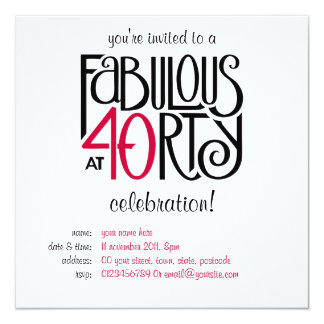 Fabulous 40 black red Birthday Invitation