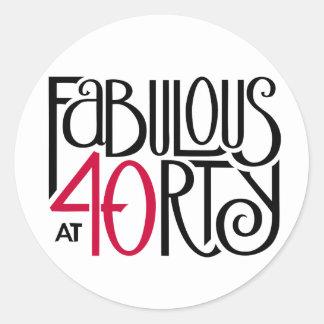 Fabulous 40 black red Round Sticker