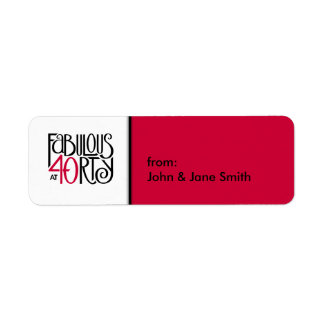 Fabulous 40 black red small Gift Tag Label