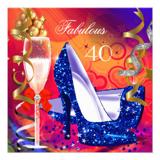 Fabulous 40 Colorful Glitter High Heels Party Personalized Invitations