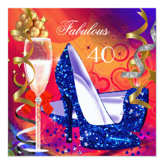 Fabulous 40 Colorful Glitter High Heels Party 5.25x5.25 Square Paper Invitation Card