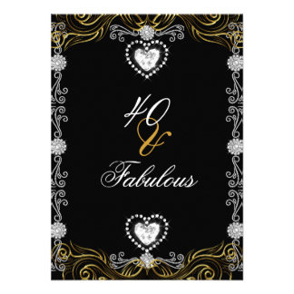 Fabulous 40 Gold Black Silver 40th Birthday Party Personalized Invitation