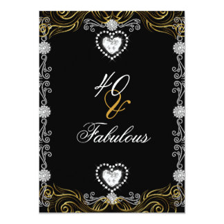 Fabulous 40 Gold Black Silver 40th Birthday Party 4.5x6.25 Paper Invitation Card