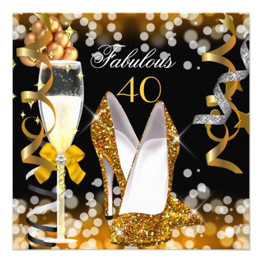 Fabulous 40 Gold Black Yellow  Bubbles Party Invitation