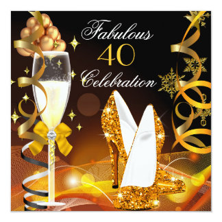 Fabulous 40 Gold Champagne Glitter Birthday Party 5.25x5.25 Square Paper Invitation Card