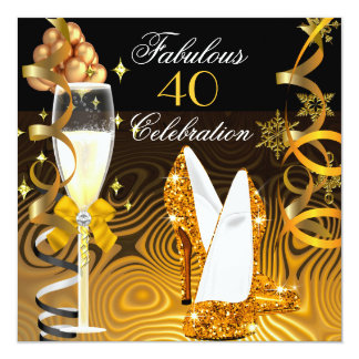 Fabulous 40 Gold Yellow Glitter Birthday Party 5.25x5.25 Square Paper Invitation Card