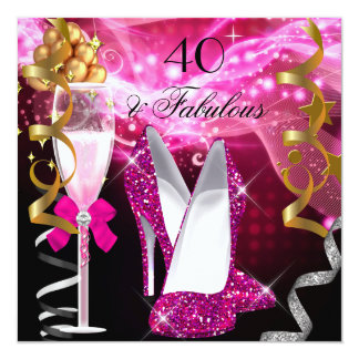 Fabulous 40 Hot Pink Glitter Heels Birthday Party 5.25x5.25 Square Paper Invitation Card