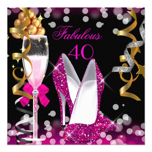 Fabulous 40 Hot Pink Gold Black Bubbles Party Invitation