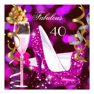 Fabulous 40 Hot Pink Gold Bubbles Glitter Party 2 Personalized Invitations
