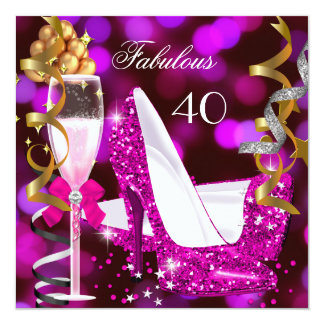 Fabulous 40 Hot Pink Gold Bubbles Glitter Party 2 13 Cm X 13 Cm Square Invitation Card