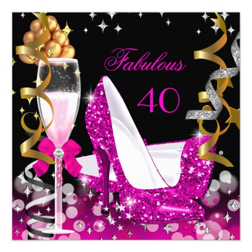 Fabulous 40 Hot Pink Gold Bubbles Glitter Party 2 Personalized Invitation