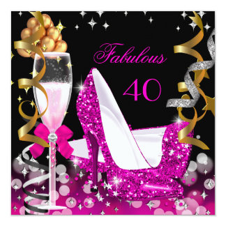 Fabulous 40 Hot Pink Gold Bubbles Glitter Party 2 5.25x5.25 Square Paper Invitation Card