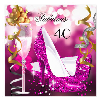 Fabulous 40 Hot Pink Gold Bubbles Glitter Party 3 Announcement