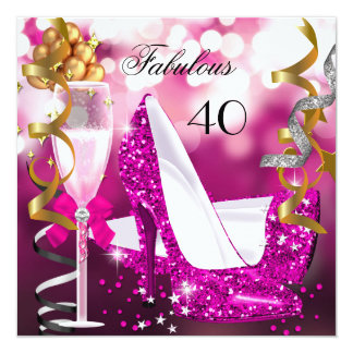 Fabulous 40 Hot Pink Gold Bubbles Glitter Party 3 5.25x5.25 Square Paper Invitation Card