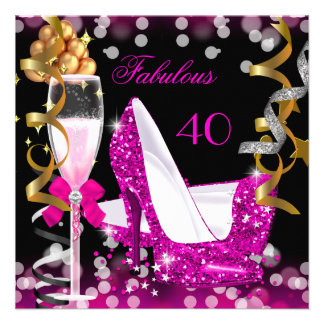 Fabulous 40 Hot Pink Gold Bubbles Glitter Party Invitations