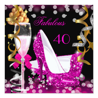 Fabulous 40 Hot Pink Gold Bubbles Glitter Party 13 Cm X 13 Cm Square Invitation Card
