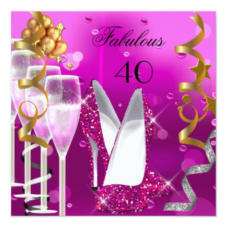 Fabulous 40 Hot Pink Gold Bubbles Party 2 5.25x5.25 Square Paper Invitation Card