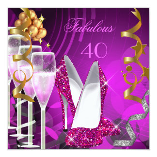 """Fabulous 40 Hot Pink Gold Bubbles Party 3 5.25"""" Square Invitation Card"""