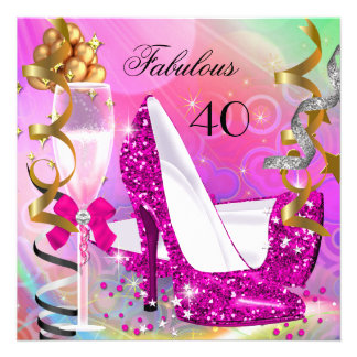 Fabulous 40 Hot Pink Gold Glitter Birthday Party Personalized Invitations