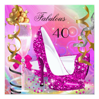 Fabulous 40 Hot Pink Gold Glitter Birthday Party 13 Cm X 13 Cm Square Invitation Card