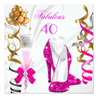 """Fabulous 40 Hot Pink Gold White Birthday Party 5.25"""" Square Invitation Card"""