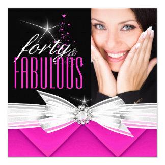 Fabulous 40 Photo Pink Black White Elegant Party 3 13 Cm X 13 Cm Square Invitation Card