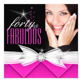 Fabulous 40 Photo Pink Black White Elegant Party 3 Card