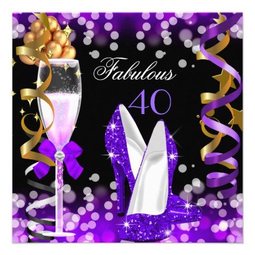 Fabulous 40 Purple Black Gold Bubbles Party Custom Invitation